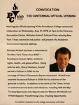 Convocation: The Centennial Official Opening Flyer by Providence College Special & Archival Collections