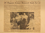 News Article: PC Pioneers Science Research Study For 25 by Thomas F. Crawley, Jr.