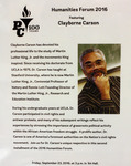Flyer: Humanities Forum 2016 Featuring Clayborne Carson