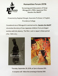Humanities Forum 2016 Flyer: Screening And Discussion of Kenji Mizoguchi's 1954 Japanese Film Sansho The Bailiff by Providence College Special & Archival Collections