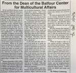 Cowl Article: From The Dean Of The Balfour Center For Multicultural Affairs