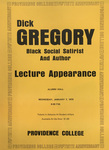 Dick Gregory Lecture Appearance Flyer by Providence College Special & Archival Collections