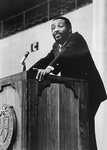 Photo of Dick Gregory Speaking at Alumni Hall,  Providence College