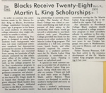 Cowl Article: Blacks Receive Twenty-Eight Martin L. King Scholarships