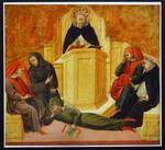 St. Thomas Aquinas Confounding Averroes (Reproduction) by Giovanni di Paolo (1403-1482)