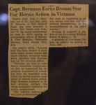 Capt. Brennan Earns Bronze Star For Heroic Action in Vietnam - News Clipping