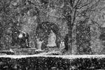Snow Falling on Grotto outside Chapel