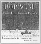 Advertisement for Adrián I. Chávez' book Pop Wuj