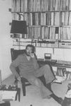 Julio Cortázar in his studio.
